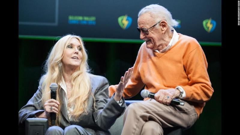 Lee's daughter, Joan, surprises her father at a Comic-Con panel in 2016.