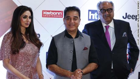 "Sridevi (L) and her husband Boney Kapoor (R) attend the ""HT India's Most Stylish Awards 2018"" in Mumbai in January."