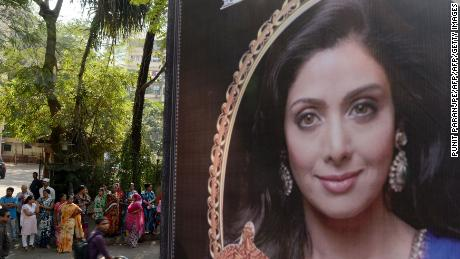 A picture of Sridevi was put up outside her residence in Mumbai on Monday following her death.
