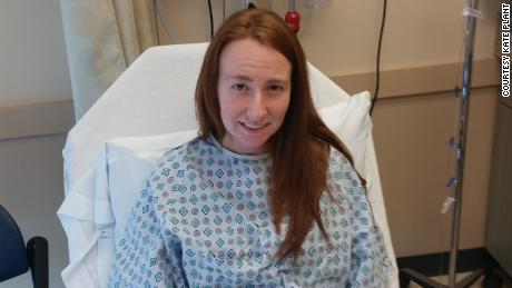 Kate Plants in the hospital after receiving news that there were 5 viable embryos.
