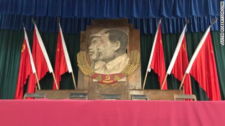 Mao's portrait is hung at the Yangjialing auditorium in Yan'an, where the Chinese Communist Party held its seventh national congress in 1945, during which Mao Zedong Thought was confirmed as the party's guiding principle.
