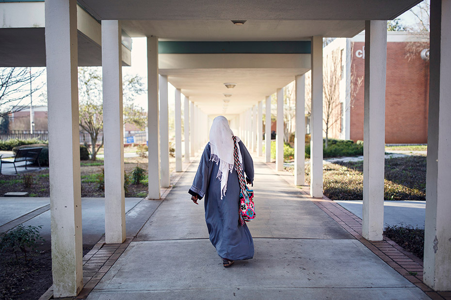 Batulo heads to class at Georgia Piedmont Technical College, where she's studying English and math as she prepares for the GED test. (Melissa Golden/Redux for CNN)