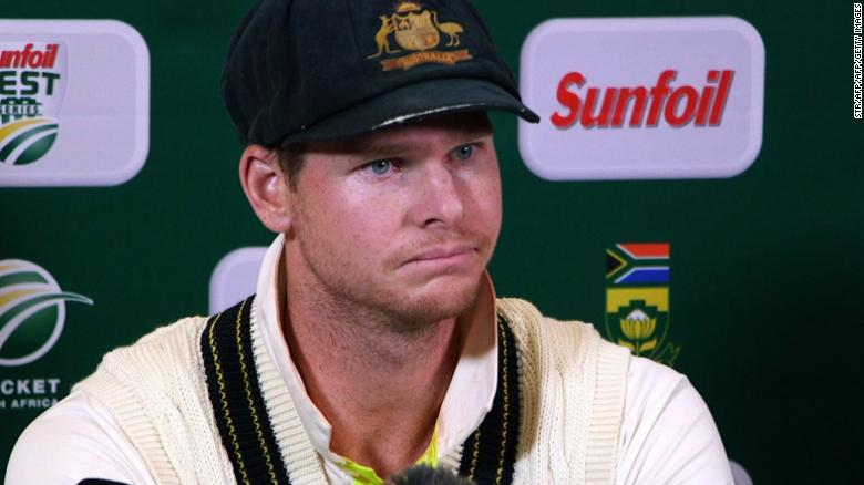 Australia captain Steve Smith faces the media in South Africa.