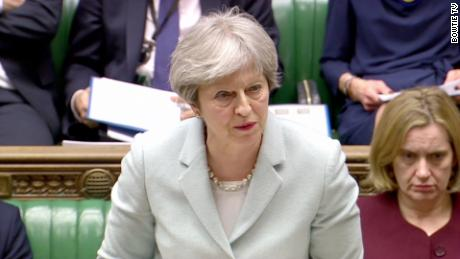 British Prime Minister Theresa May speaks Monday in Parliament.