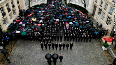 A minute of silence is held for  Beltrame at the Interior Ministry in Paris.