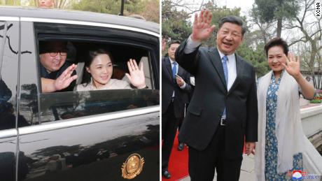 North Korean leader Kim Jong Un and his wife, Ri Sol Ju, (left) wave to Chinese President Xi Jinping and his wife, Peng Liyuan (right) in photos released by North Korean state media.