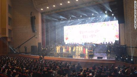 Pyongyang residents enjoy a rare concert by South Korean musicians at the 1,500-seat East Pyongyang Grand Theatre in Pyongyang in this photo released from North Korea's official Korean Central News Agency (KCNA).