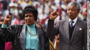 Winnie and Nelson Mandela in Soweto, South Africa in February 1990.