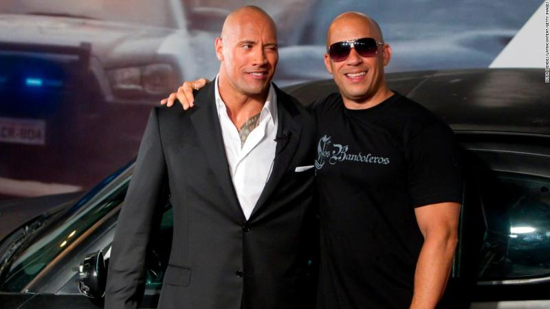 """Dwayne """"The Rock"""" Johnson and Vin Diesel are apparently no longer close. It all kicked off in 2016 when Johnson wrote in a now deleted Instagram posting about male co-stars he called """"Candy a**es."""" Some fans theorized he was talking about Diesel. In 2018 Johnson <a href=""""https://www.rollingstone.com/movies/features/dwayne-johnson-movies-the-rock-rampage-w518693"""" target=""""_blank"""">confirmed to Rolling Stone magazine</a> that he and Diesel did not film their scenes together in """"The Fate of the Furious."""""""