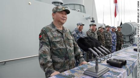 Chinese President Xi Jinping reviews a naval parade Thursday in the South China Sea in April 2018.