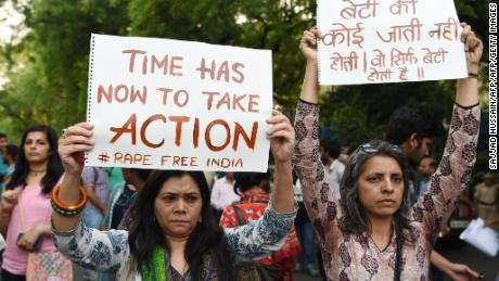 Indian demonstrators stage a silent protest in New Delhi Sunday in support of rape victims following high profile cases in Jammu and Kashmir and Uttar Pradesh states.