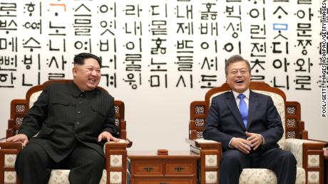 North Korean leader Kim Jong Un (L) and South Korean President Moon Jae-in at  the Inter-Korean Summit on Friday in Panmunjom.