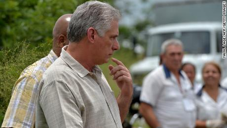 Cuban President Miguel Diaz-Canel arrives at the site of the accident.