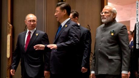 Russian President Vladimir Putin, Chinese President Xi Jinping and Indian Prime Minister Narendra Modi at the 2017 BRICS Summit in Xiamen in 2017.