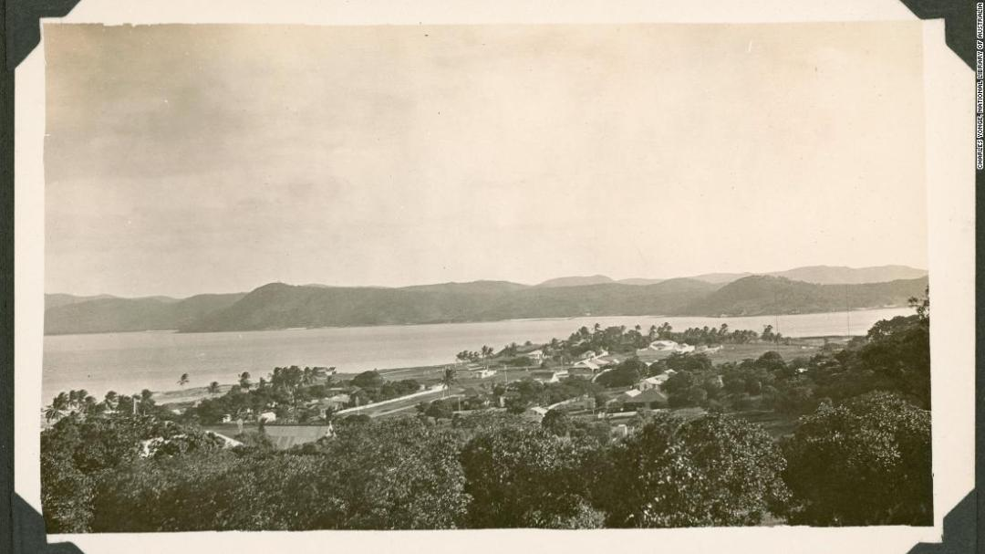 View over Thursday Island with Prince of Wales Island in the background, taken around 1928