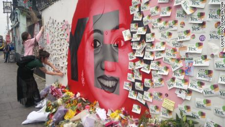 Repeal supporters leave notes at a mural of Savita Halappanavar, whose death sparked the campaign.