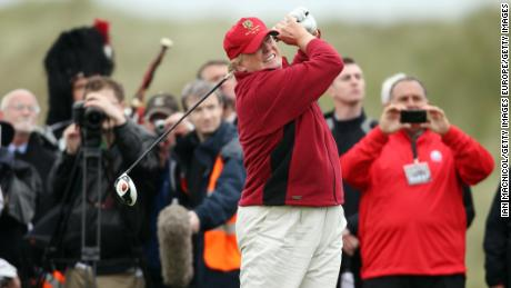 Donald Trump opens his golf course in Aberdeenshire in July 2012.