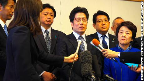 Takuya Yokota (middle), younger brother of Megumi Yokota, who was abducted by North Korea, speaks on April 30, 2018 in Narita, Chiba, Japan.
