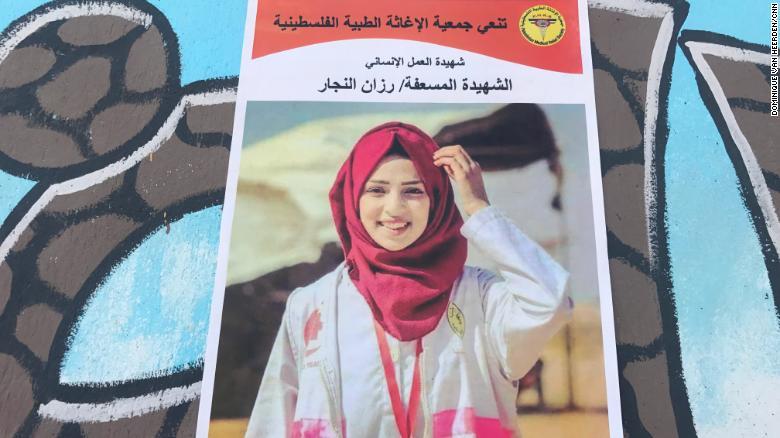 Posters of Razan al-Najjar adorn the streets of her neighborhood in Khan Younis, Gaza.
