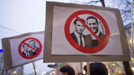 Austrians protest against the anti-immigrant policies of Sebastian Kurz and his Vice Chancellor Heinz-Christian Strache in January.