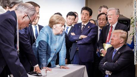 The image that sums up how many in Europe feel about the US President.