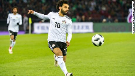 #10 Mo Salah in action during a friendly between Portugal and Egypt