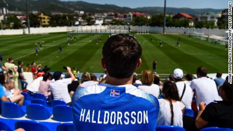 Spectators attend Iceland's national football team's training session