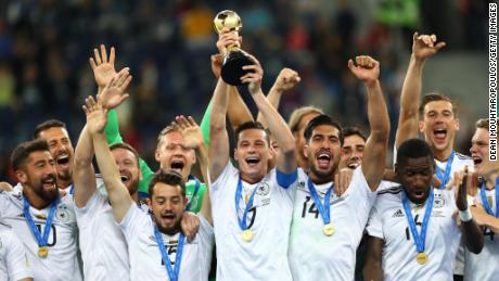 Germany lifts the FIFA Confederations Cup trophy in 2017
