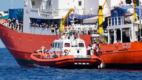 An Italian Coast Guard vessel approaches the Aquarius on Tuesday.