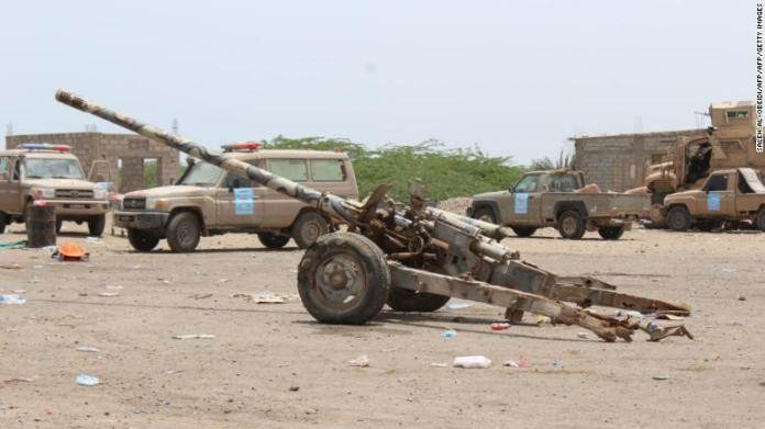 A Russian-made 130mm artillery Yemeni loyalist fighters backed by Saudi and Emirati forces said was left behind by Huthi rebels in Yemen's Hodeidah province.
