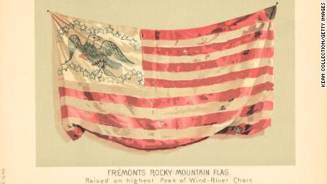 Color illustration of Fremont's Rocky Mountain Flag, raised by officer and explorer John C. Fremont on the highest peak of the Wind River Chain.
