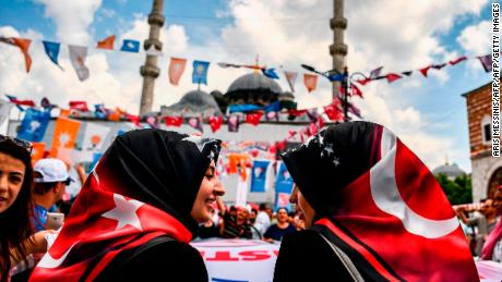 Women attending an Erdogan campaign event in Istanbul on June 19.