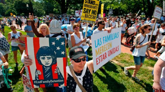 Tens of thousands protest Trump's immigration policies