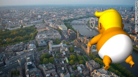 """Protest organizers hope to fly a """"Trump Baby"""" balloon over London during the US President's stay."""