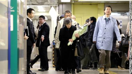Shizue Takahashi, whose husband was killed by doomsday cult Aum Shinrikyo's sarin nerve gas attack while on duty at Tokyo Metro Kasumigaseki Station attends a memorial on March 20, 2018 in Tokyo, Japan.