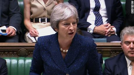 Theresa May addresses Parliament on Monday after Foreign Secretary Boris Johnson resigned.