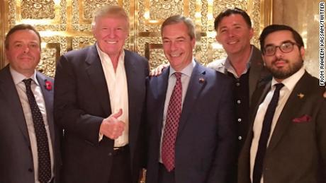 Nigel Farage visiting Trump Tower.