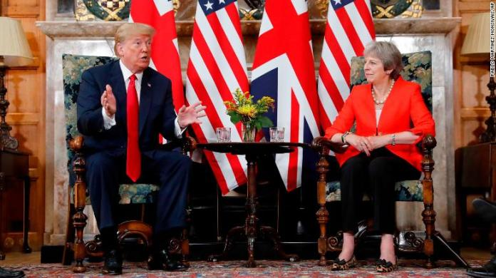 Trump, May don't address searing interview as they begin day of meetings