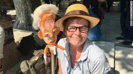 Artist Annie Jeffs made a Trump puppet for Friday's protests.