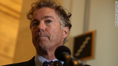 Sen. Rand Paul (R-KY) speaks to members of the press on health care September 25, 2017 on Capitol Hill in Washington, DC.