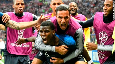 Pogba celebrates after scoring his side's third goal.