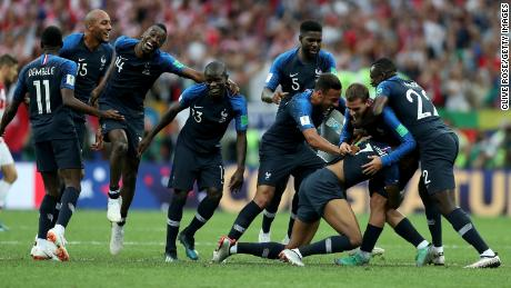 French players celebrate their World Cup win at Russia  2018.