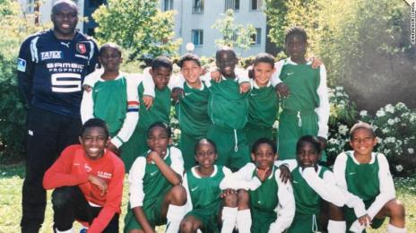 Kylian Mbappe (bottom right) playing for AS Bondy in 2008 aged nine.