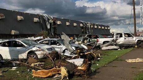 Damage from a tornado that struck Marshalltown, Iowa on Thursday, June 19.