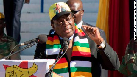 Mnangagwa addresses a meeting of farmers on July 21 ahead of the election.