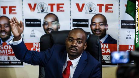 Zimbabwe's Movement for Democratic Change (MDC) party leader Nelson Chamisa holds a press conference at the MDC headquarters in Harare.