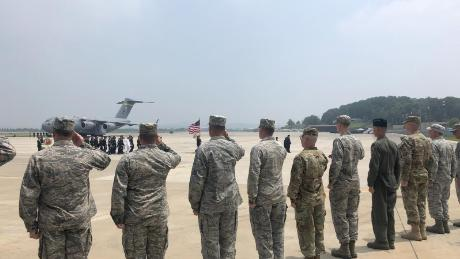 Troops serving under the UN Command in South Korea receive the possible remains of soldiers killed in the Korean War. July 27, 2018 Photo by Jung-eun Kim, CNN