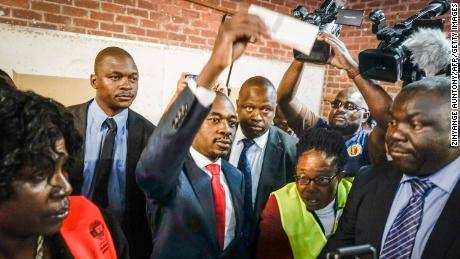 Zimbabwe's opposition leader Nelson Chamisa casts his vote at a polling station in Harare on Monday.