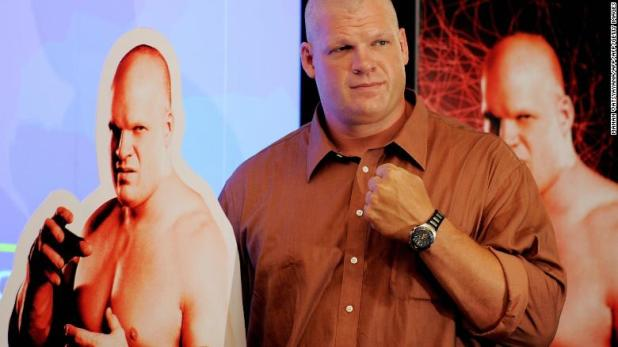 World Wrestling Entertainment (WWE) wrestler Kane poses during a promotional event in New Delhi in 2009.