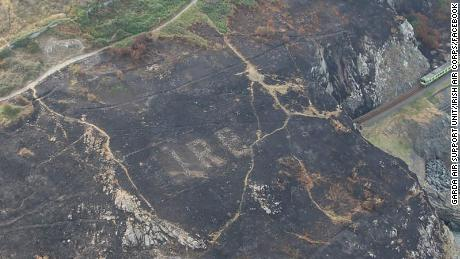 Fires along clifftops on Bray Head in Ireland revealed these markings that aided aviators in World War II.